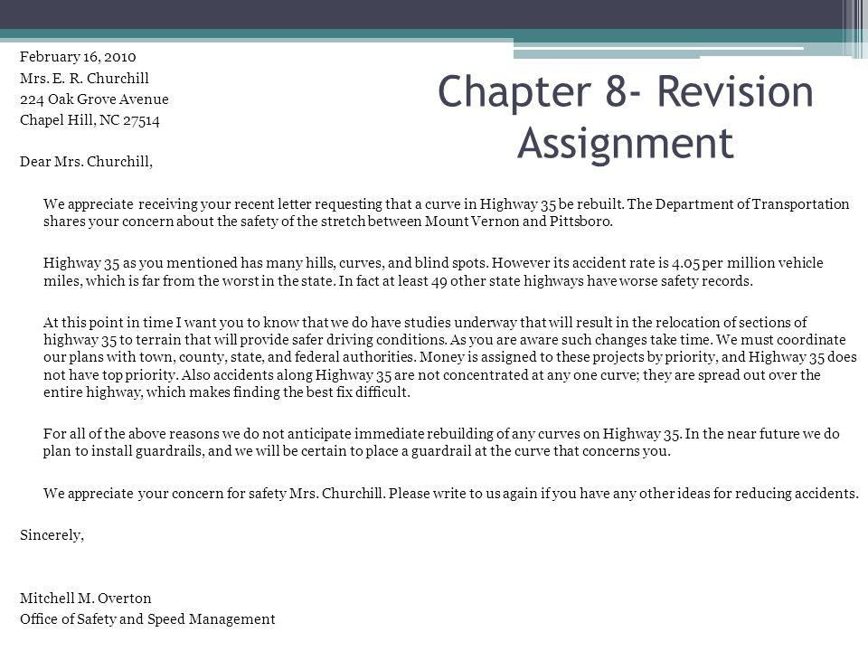 February 16, 2010 Mrs. E. R. Churchill 224 Oak Grove Avenue Chapel Hill, NC 27514 Dear Mrs. Churchill, We appreciate receiving your recent letter requ