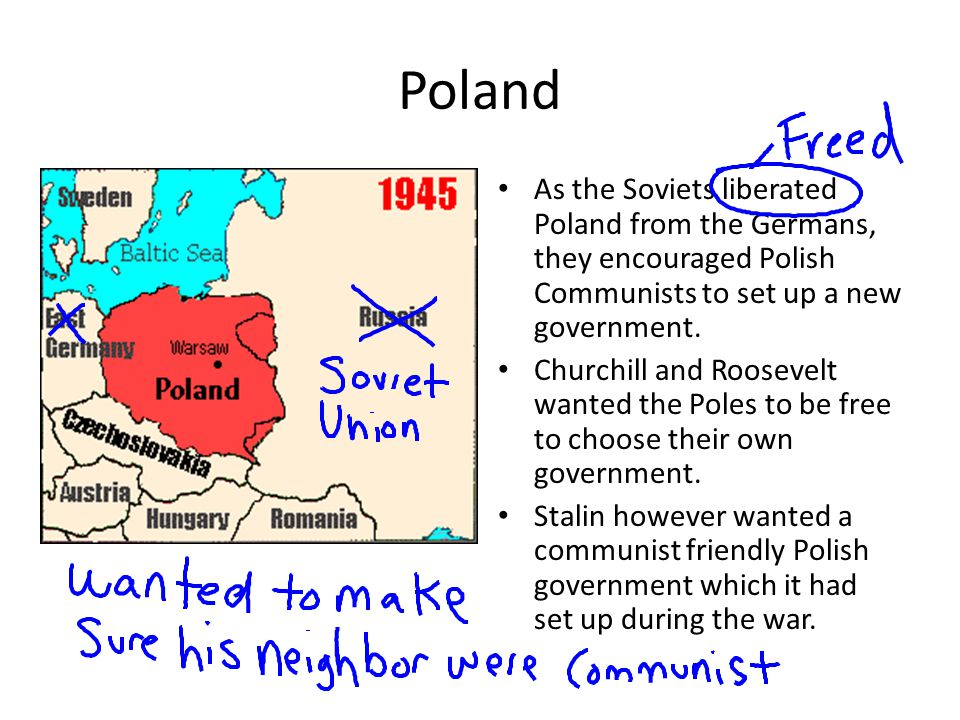 Poland As the Soviets liberated Poland from the Germans, they encouraged Polish Communists to set up a new government. Churchill and Roosevelt wanted