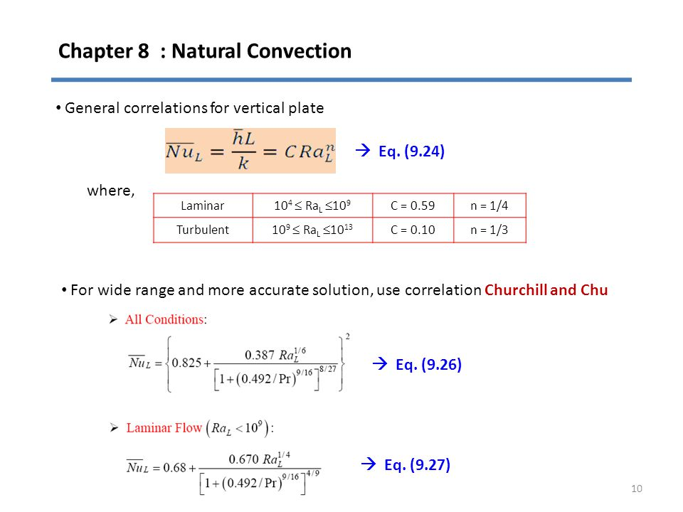 Chapter 8 : Natural Convection 10 General correlations for vertical plate where, Laminar 10 4  Ra L  10 9 C = 0.59n = 1/4 Turbulent10 9  Ra L  10