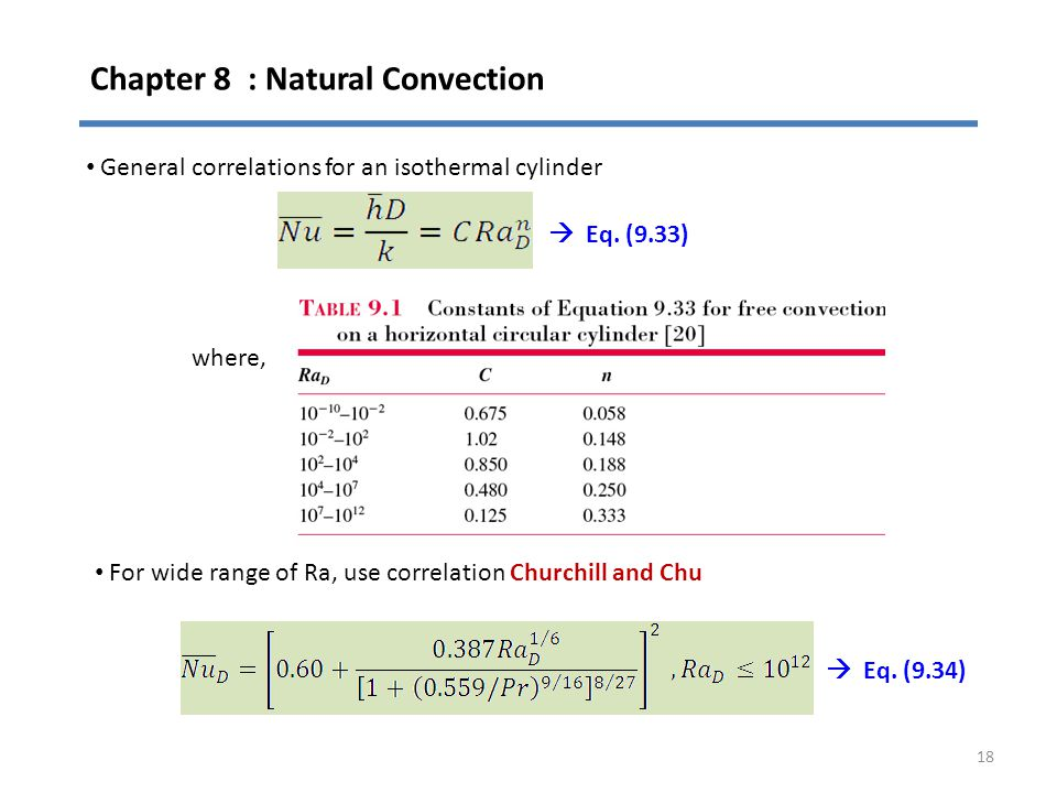 Chapter 8 : Natural Convection 18 General correlations for an isothermal cylinder where, For wide range of Ra, use correlation Churchill and Chu  Eq.