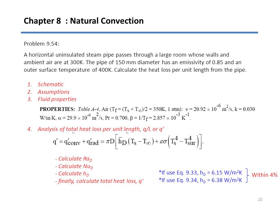 Chapter 8 : Natural Convection 20 Problem 9.54: A horizontal uninsulated steam pipe passes through a large room whose walls and ambient air are at 300