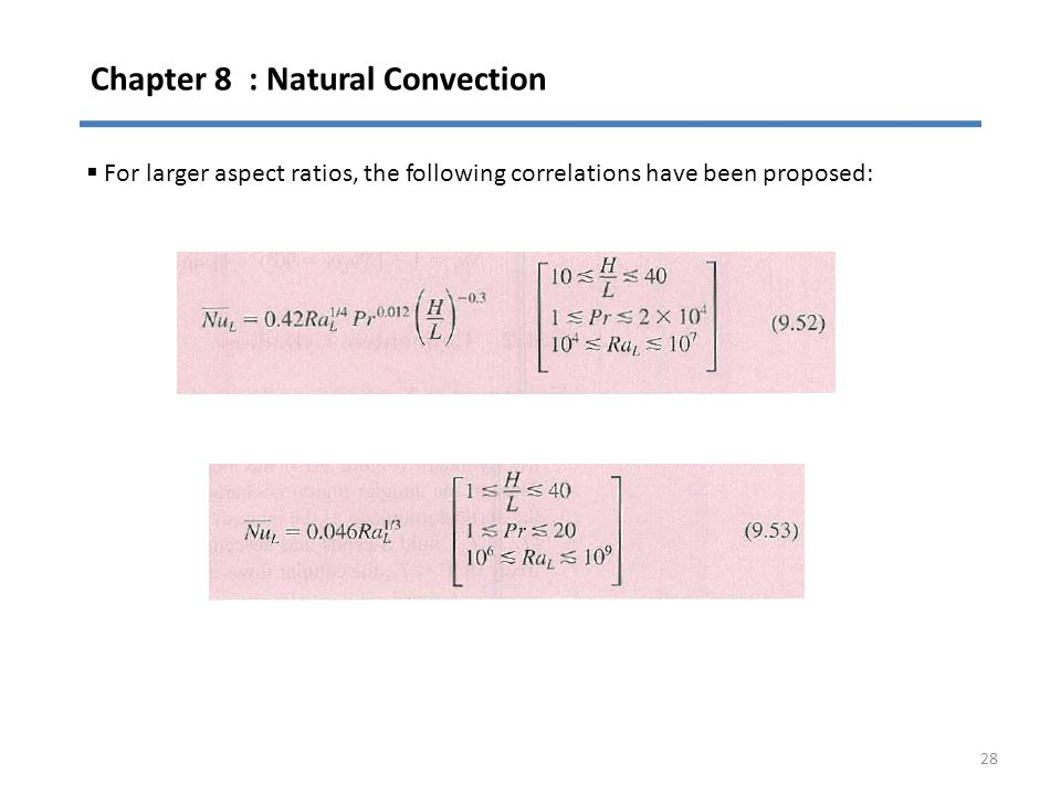 Chapter 8 : Natural Convection 28  For larger aspect ratios, the following correlations have been proposed: