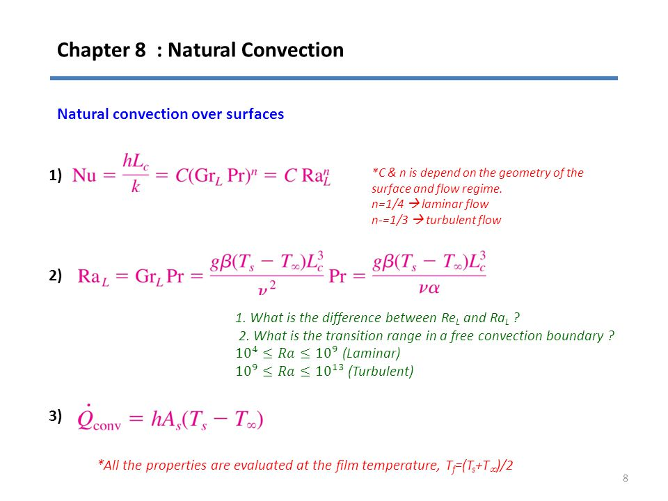Chapter 8 : Natural Convection 8 Natural convection over surfaces 1) 2) 3) *C & n is depend on the geometry of the surface and flow regime. n=1/4  la