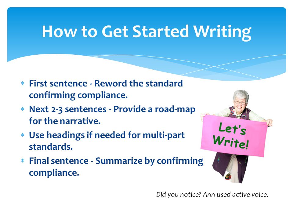  First sentence - Reword the standard confirming compliance.  Next 2-3 sentences - Provide a road-map for the narrative.  Use headings if needed fo