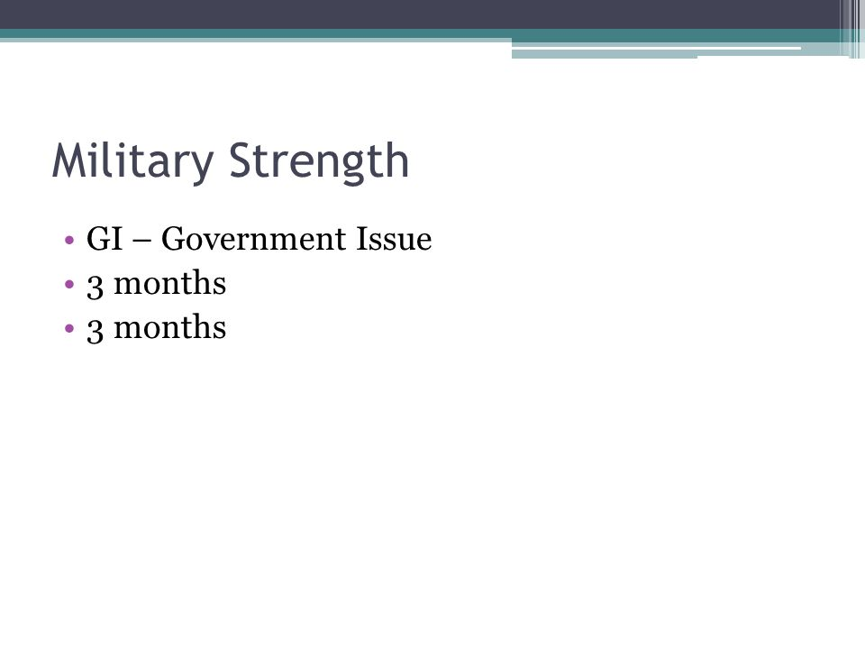 Military Strength GI – Government Issue 3 months