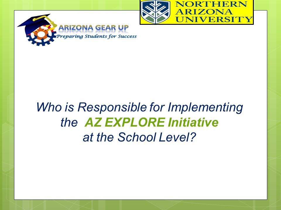 Who is Responsible for Implementing the AZ EXPLORE Initiative at the School Level