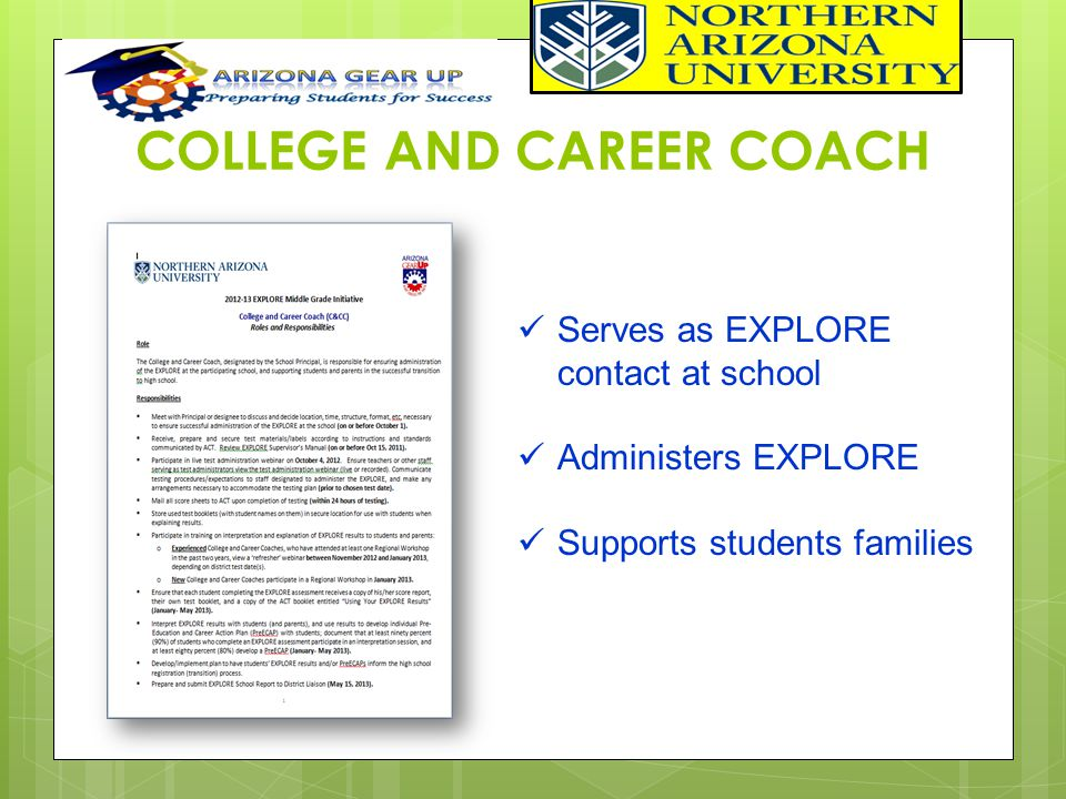 COLLEGE AND CAREER COACH Serves as EXPLORE contact at school Administers EXPLORE Supports students families