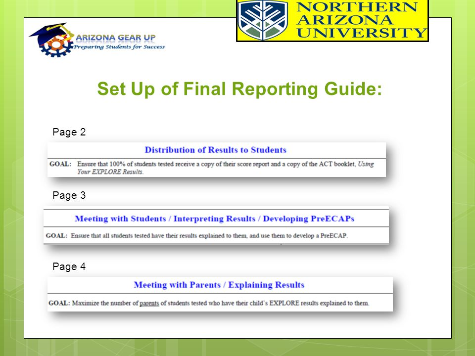 Page 2 Set Up of Final Reporting Guide: Page 3 Page 4