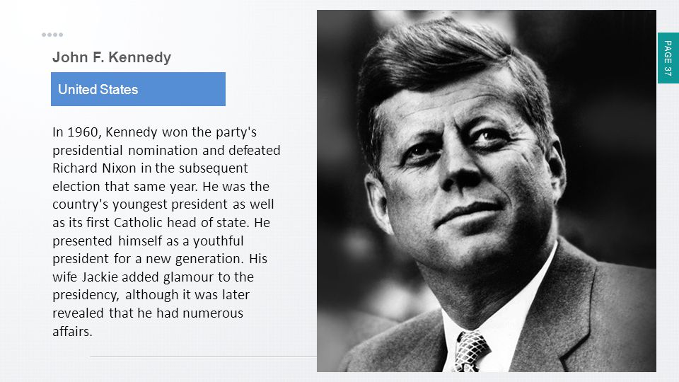 PAGE 37 John F. Kennedy United States In 1960, Kennedy won the party's presidential nomination and defeated Richard Nixon in the subsequent election t