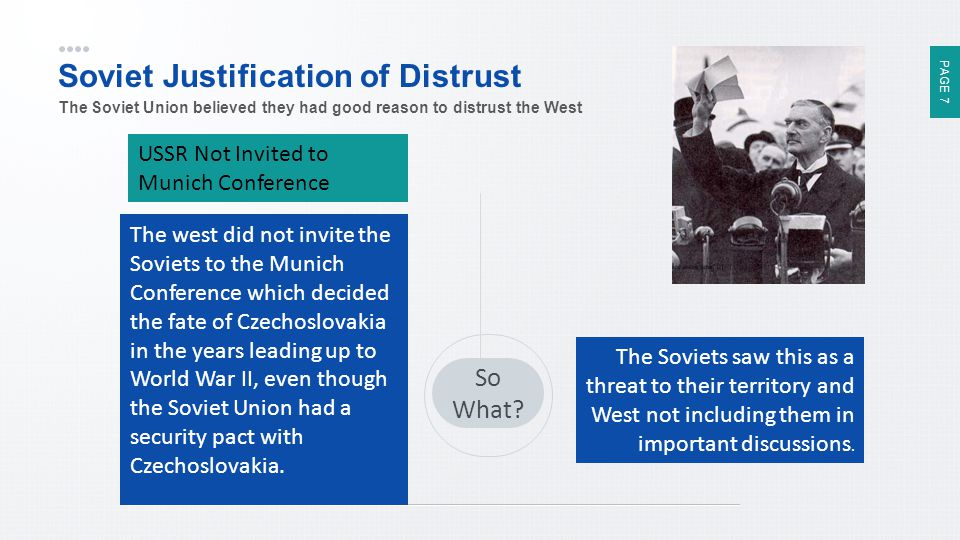 PAGE 7 Soviet Justification of Distrust The Soviet Union believed they had good reason to distrust the West So What? USSR Not Invited to Munich Confer
