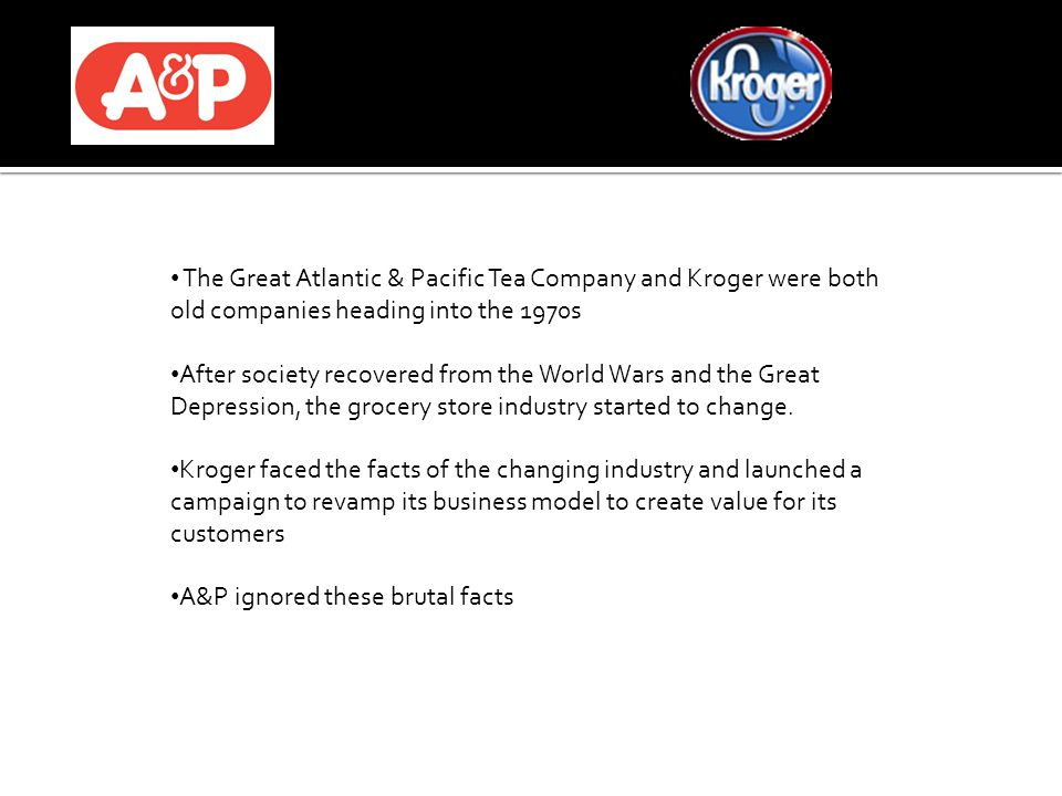 The Great Atlantic & Pacific Tea Company and Kroger were both old companies heading into the 1970s After society recovered from the World Wars and the Great Depression, the grocery store industry started to change.