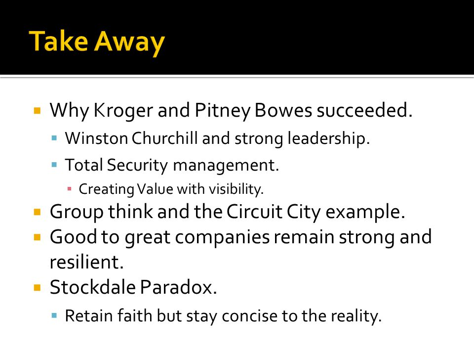  Why Kroger and Pitney Bowes succeeded.  Winston Churchill and strong leadership.