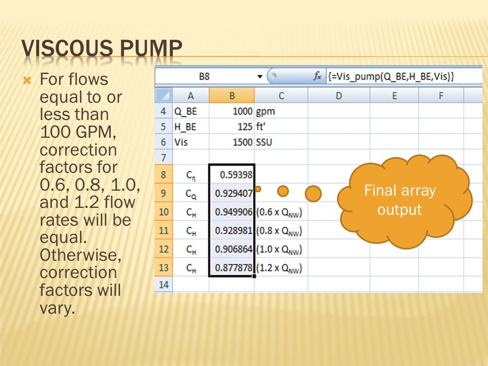  For flows equal to or less than 100 GPM, correction factors for 0.6, 0.8, 1.0, and 1.2 flow rates will be equal.