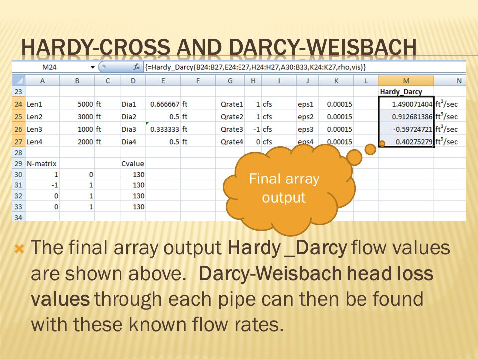  The final array output Hardy _Darcy flow values are shown above.