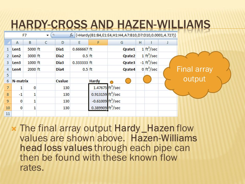  The final array output Hardy _Hazen flow values are shown above.