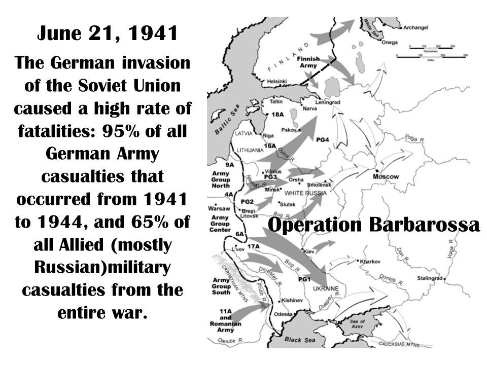 The German invasion of the Soviet Union caused a high rate of fatalities: 95% of all German Army casualties that occurred from 1941 to 1944, and 65% of all Allied (mostly Russian)military casualties from the entire war.
