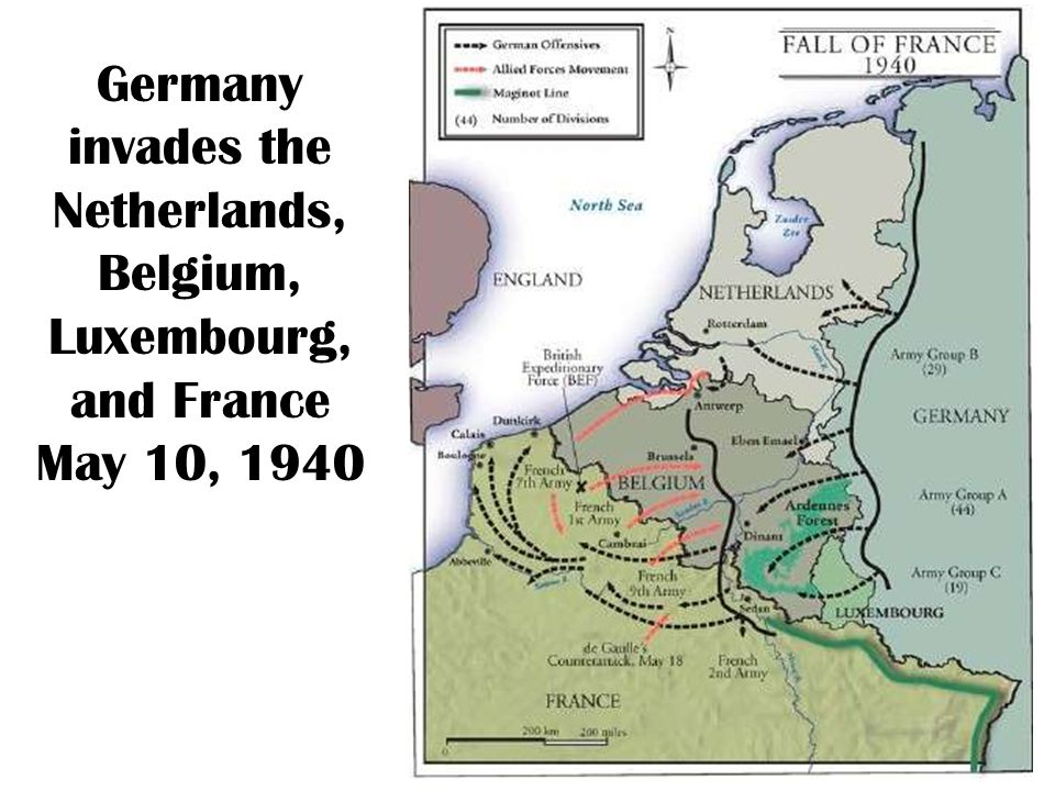 Germany invades the Netherlands, Belgium, Luxembourg, and France May 10, 1940