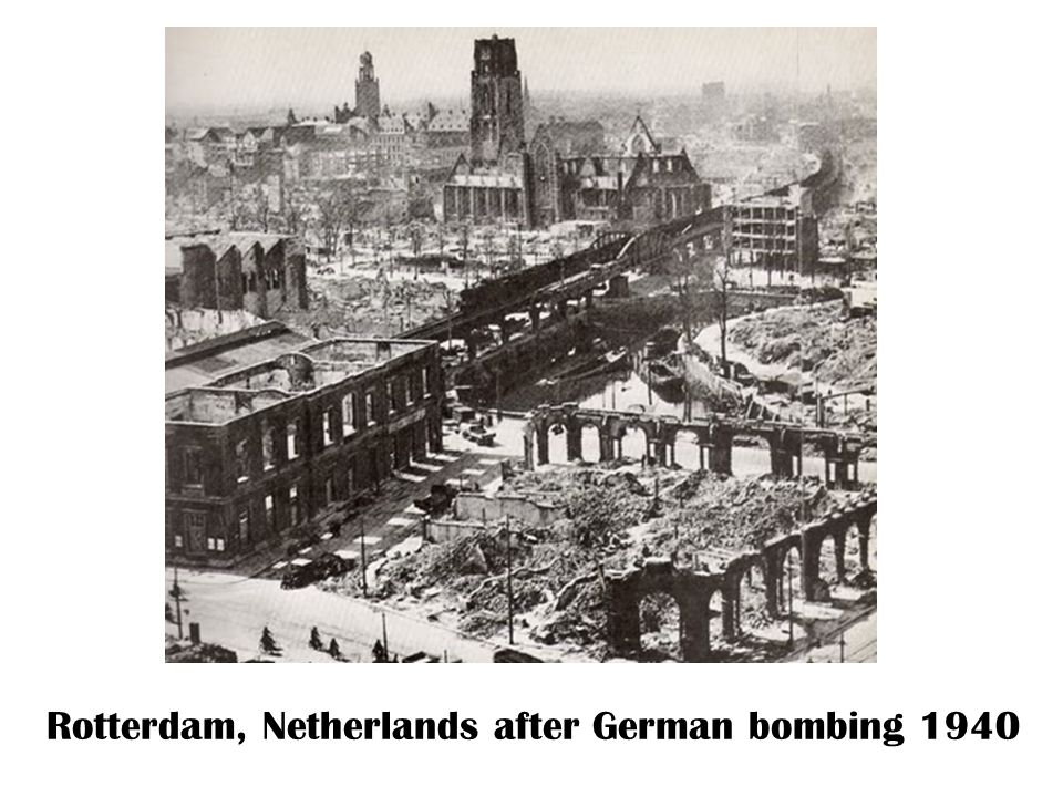 Rotterdam, Netherlands after German bombing 1940