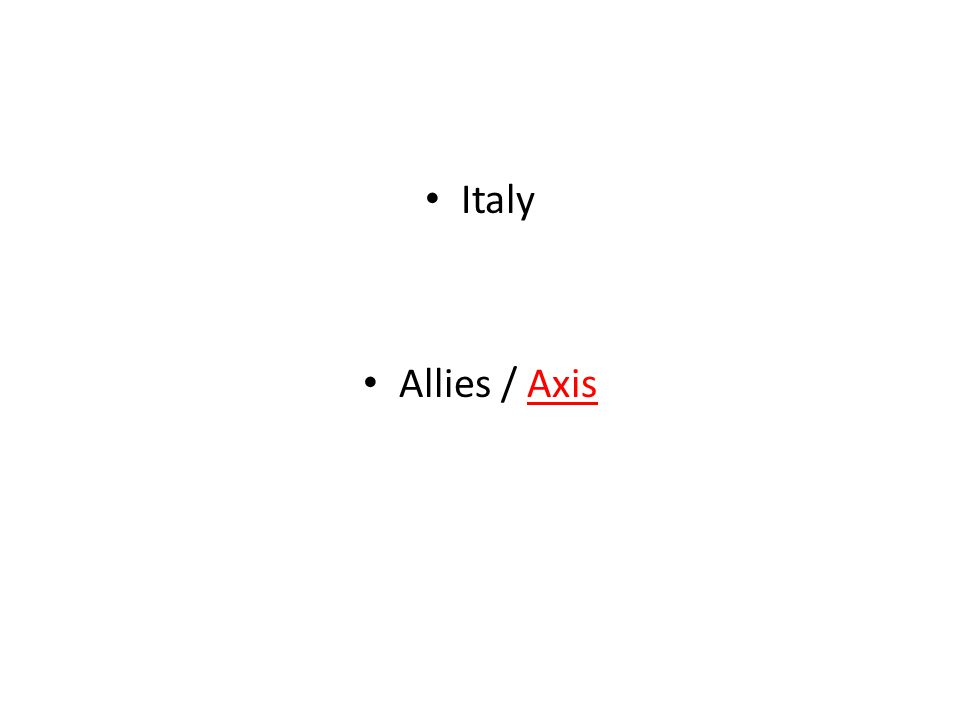Italy Allies / Axis