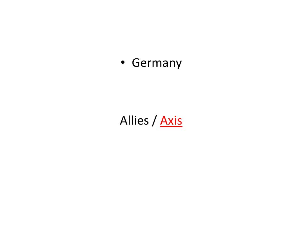 Germany Allies / Axis