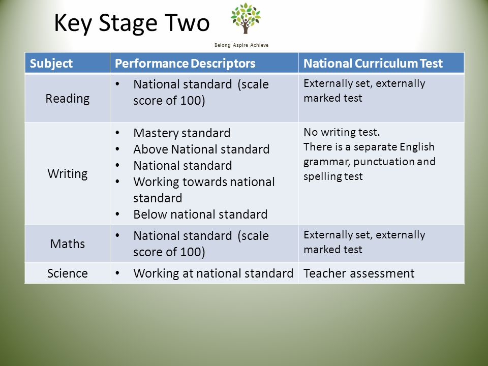 Belong Aspire Achieve Key Stage Two SubjectPerformance DescriptorsNational Curriculum Test Reading National standard (scale score of 100) Externally set, externally marked test Writing Mastery standard Above National standard National standard Working towards national standard Below national standard No writing test.