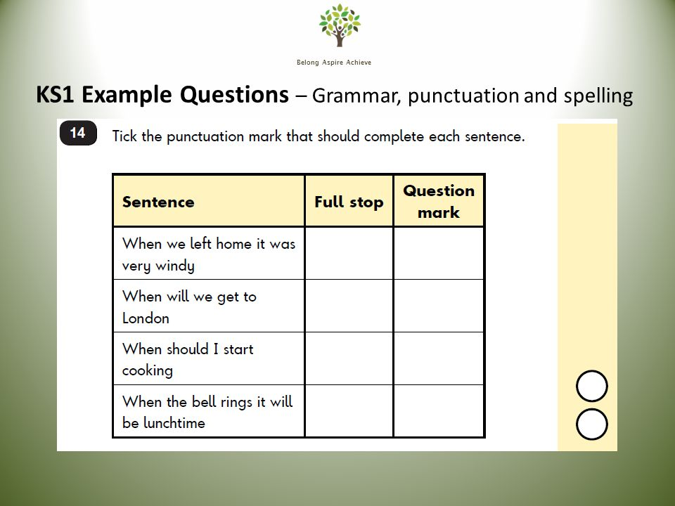 Belong Aspire Achieve KS1 Example Questions – Grammar, punctuation and spelling