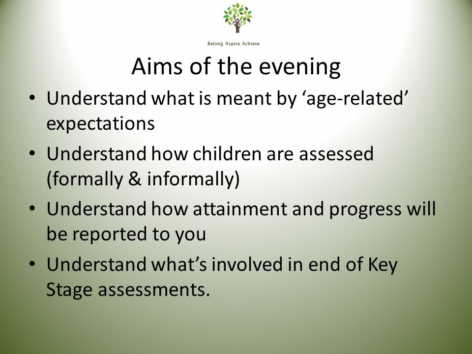 Belong Aspire Achieve Aims of the evening Understand what is meant by 'age-related' expectations Understand how children are assessed (formally & informally) Understand how attainment and progress will be reported to you Understand what's involved in end of Key Stage assessments.