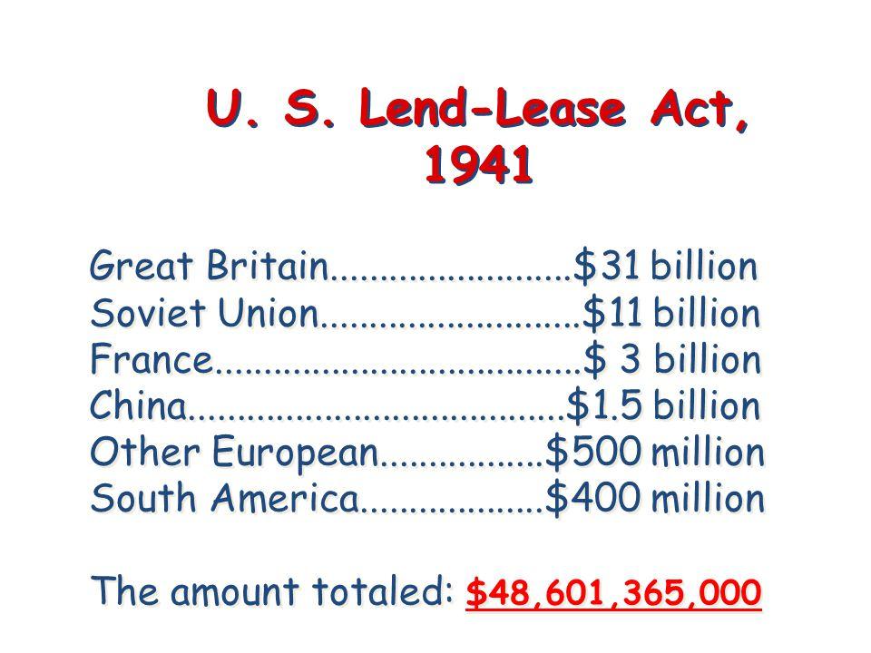 Great Britain.........................$31 billion Soviet Union...........................$11 billion France......................................$ 3 b