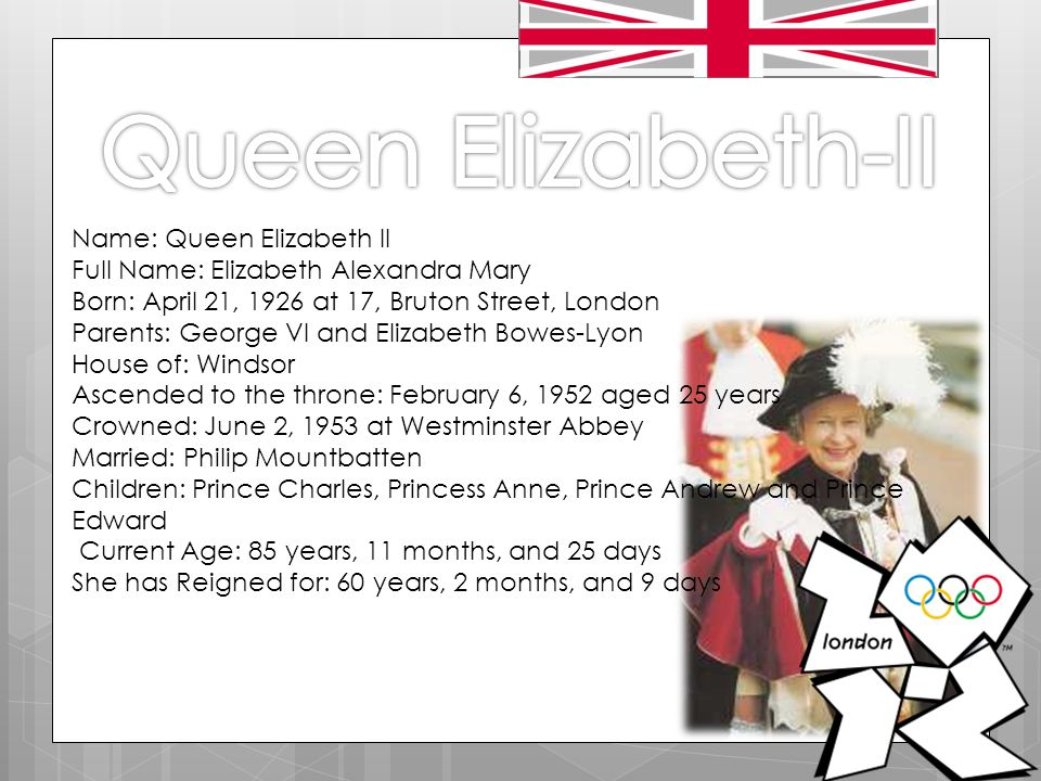 Name: Queen Elizabeth II Full Name: Elizabeth Alexandra Mary Born: April 21, 1926 at 17, Bruton Street, London Parents: George VI and Elizabeth Bowes-