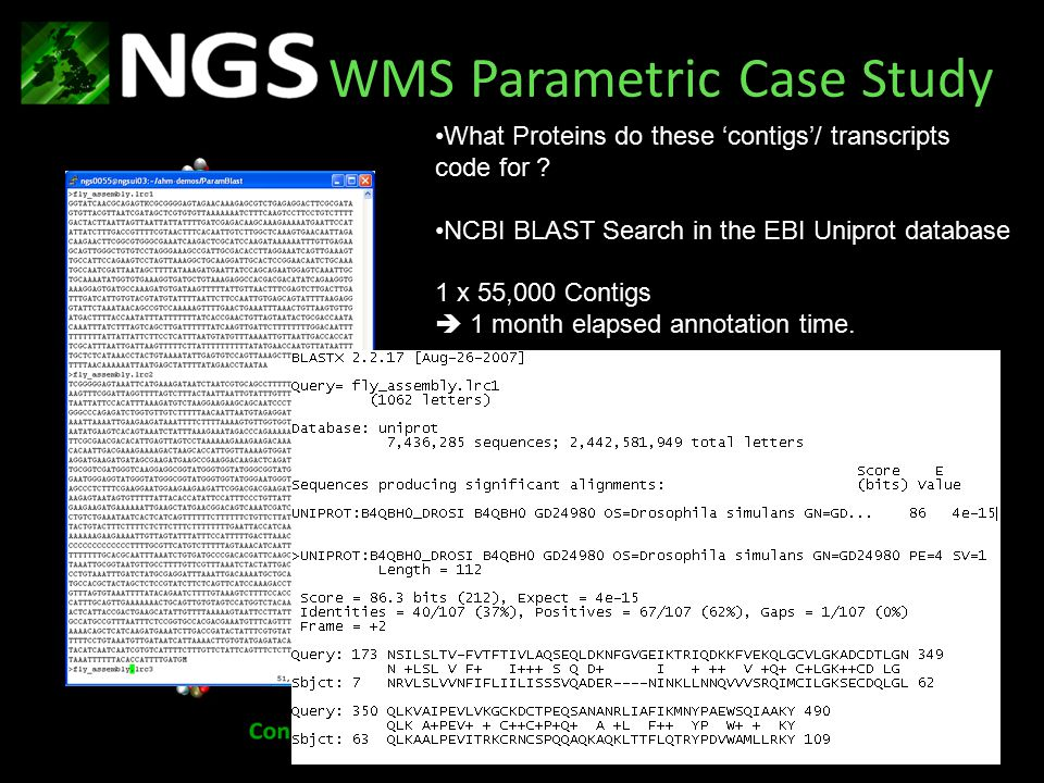 WMS Parametric Case Study What Proteins do these 'contigs'/ transcripts code for .