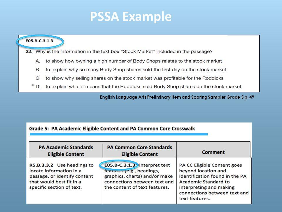 English Language Arts Preliminary item and Scoring Sampler Grade 5 p. 49 PSSA Example