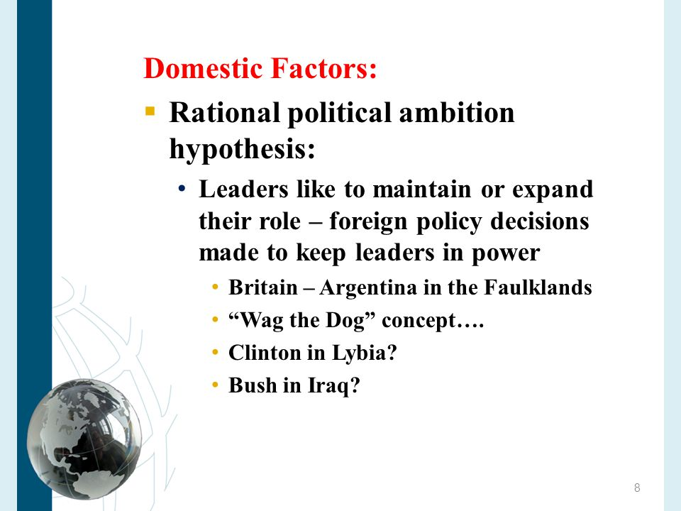 Copyright 2010 Cengage Learning Most Foreign Policy Analysis Centers on the Executive Branch  The head of government is responsible for making policy  The country needs to have a single voice abroad  Heads of government tend to make foreign policy because they control the executive branch of government 19