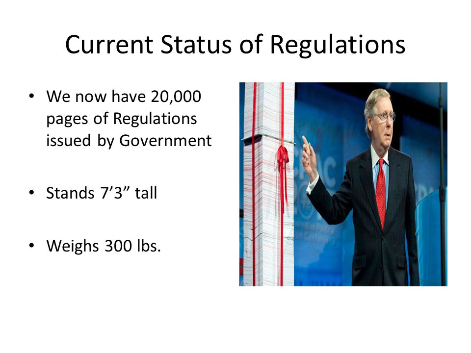 "Current Status of Regulations We now have 20,000 pages of Regulations issued by Government Stands 7'3"" tall Weighs 300 lbs."