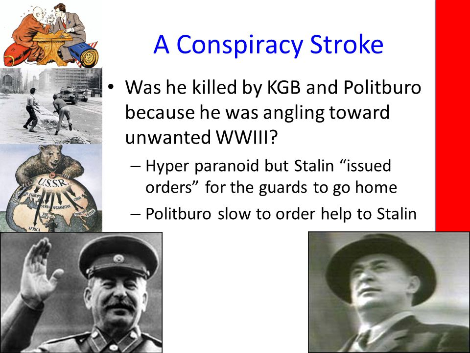 A Conspiracy Stroke Was he killed by KGB and Politburo because he was angling toward unwanted WWIII.