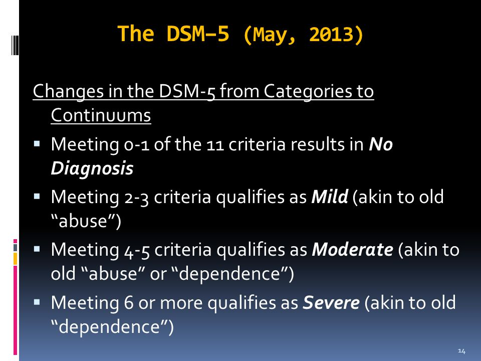 The DSM–5 (May, 2013) Changes in the DSM-5 from Categories to Continuums  Meeting 0-1 of the 11 criteria results in No Diagnosis  Meeting 2-3 criter