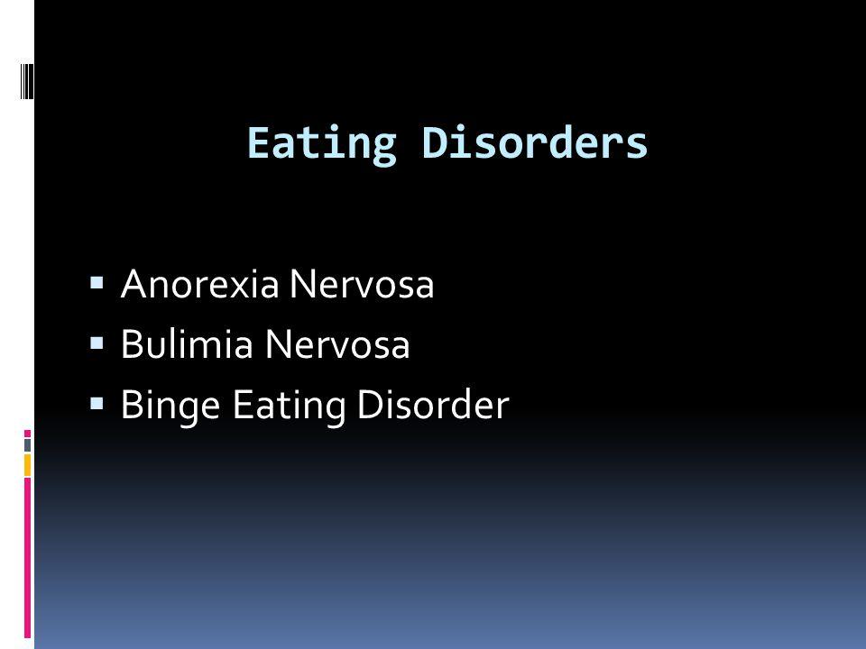 Eating Disorders  Anorexia Nervosa  Bulimia Nervosa  Binge Eating Disorder