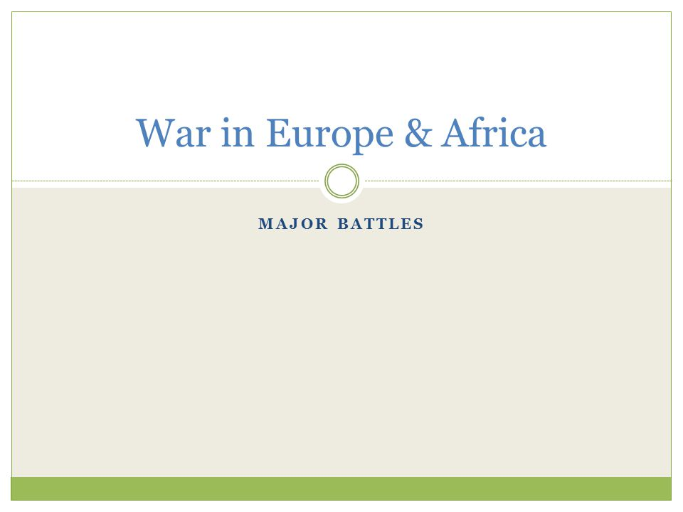 MAJOR BATTLES War in Europe & Africa