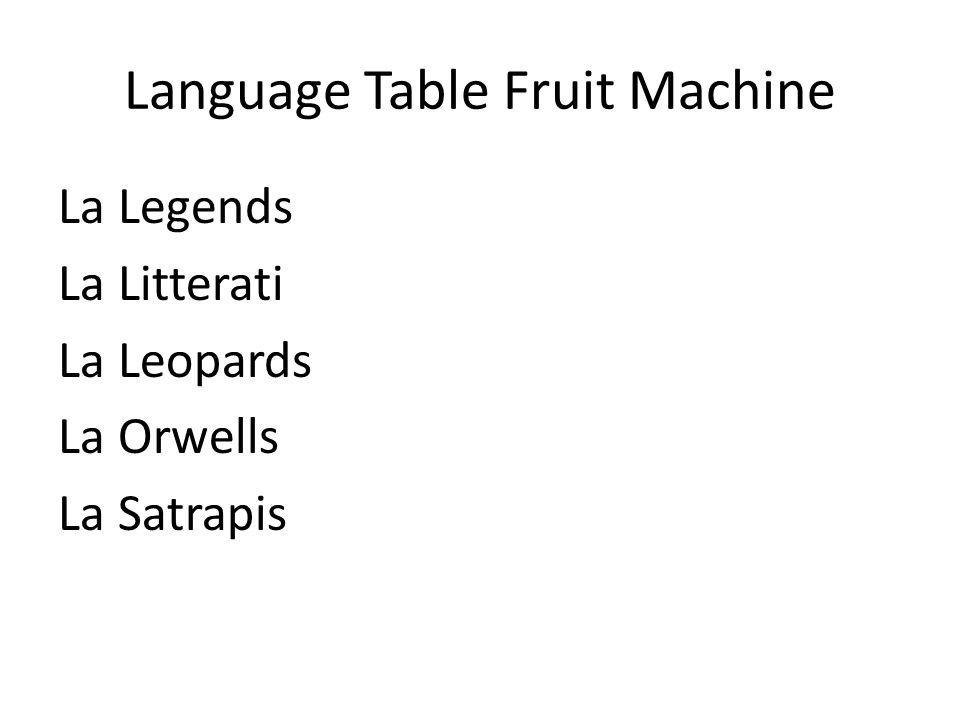Language Table Fruit Machine La Legends La Litterati La Leopards La Orwells La Satrapis