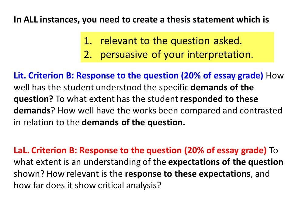 In ALL instances, you need to create a thesis statement which is Lit.