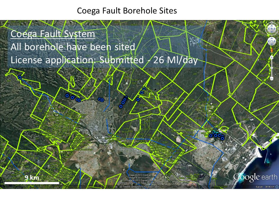 9 km Coega Fault Borehole Sites Coega Fault System All borehole have been sited License application: Submitted - 26 Ml/day