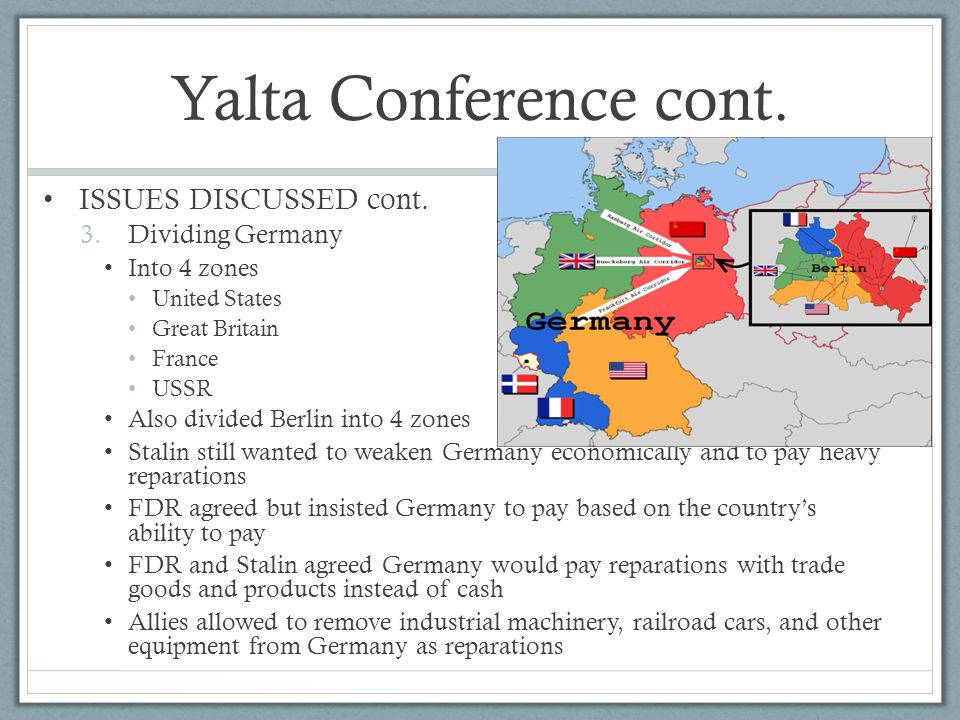 Yalta Conference cont. ISSUES DISCUSSED cont. 3.Dividing Germany Into 4 zones United States Great Britain France USSR Also divided Berlin into 4 zones