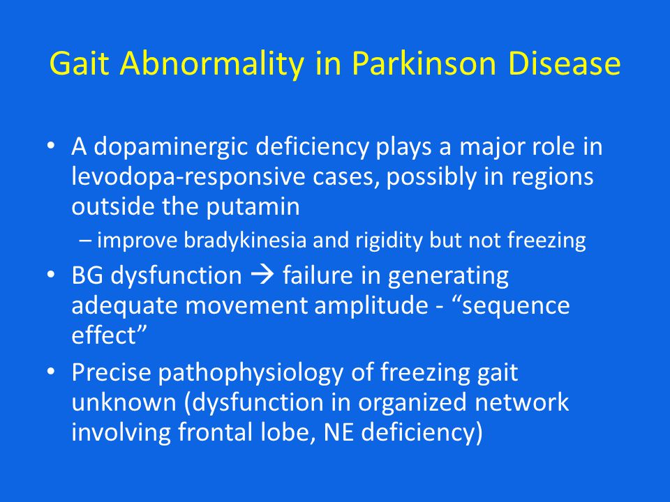 Gait Abnormality in Parkinson Disease A dopaminergic deficiency plays a major role in levodopa-responsive cases, possibly in regions outside the putamin – improve bradykinesia and rigidity but not freezing BG dysfunction  failure in generating adequate movement amplitude - sequence effect Precise pathophysiology of freezing gait unknown (dysfunction in organized network involving frontal lobe, NE deficiency)
