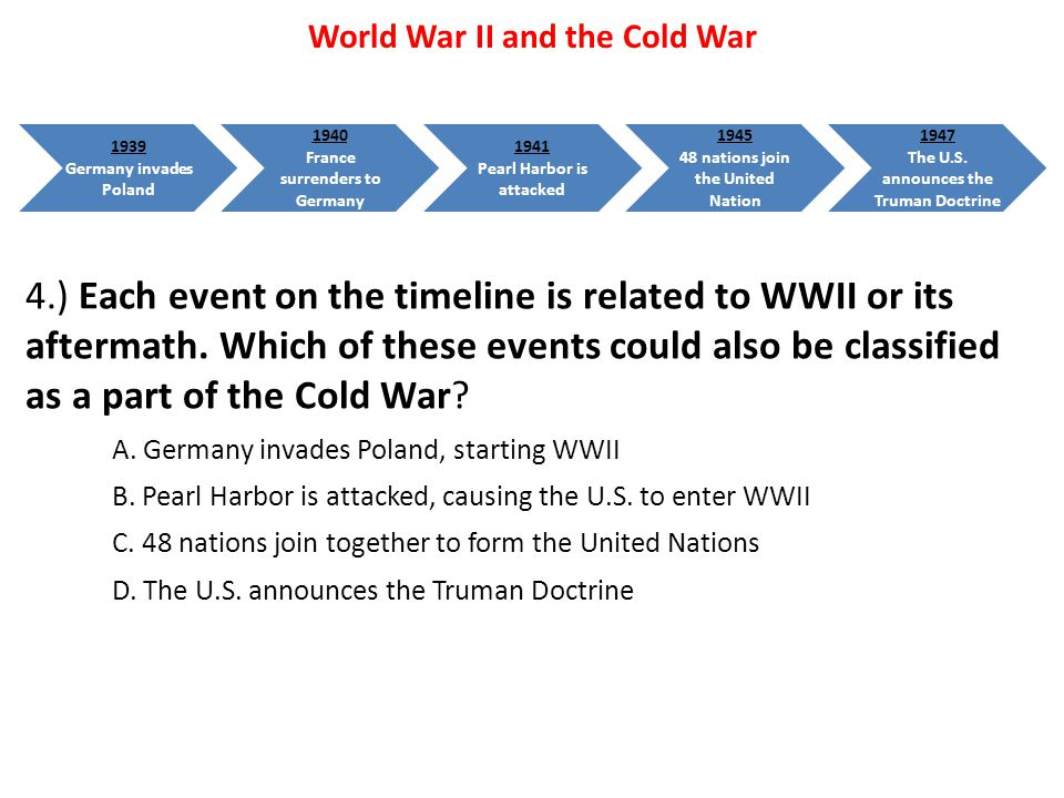 4.) Each event on the timeline is related to WWII or its aftermath. Which of these events could also be classified as a part of the Cold War? A. Germa