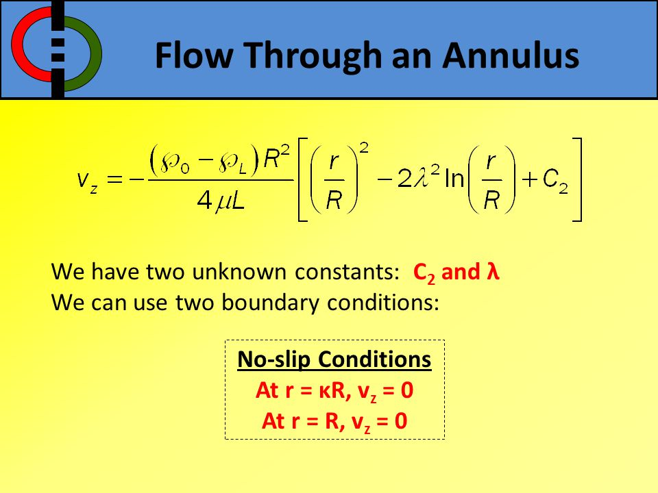 Flow Through an Annulus We have two unknown constants: C 2 and λ We can use two boundary conditions: No-slip Conditions At r = κR, v z = 0 At r = R, v