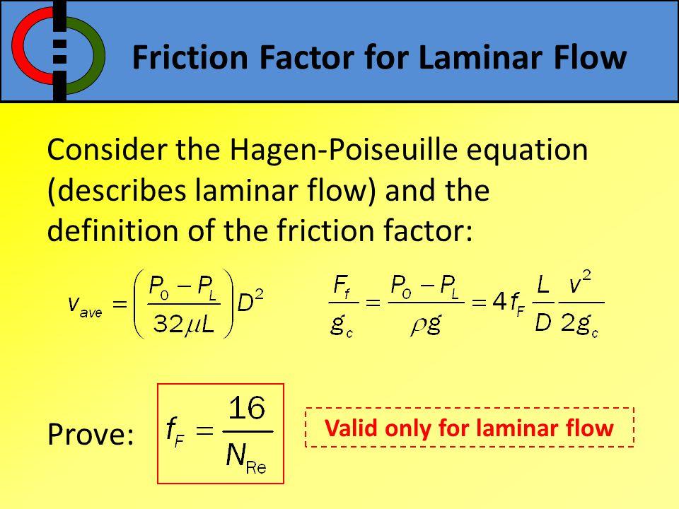 Friction Factor for Laminar Flow Consider the Hagen-Poiseuille equation (describes laminar flow) and the definition of the friction factor: Prove: Val