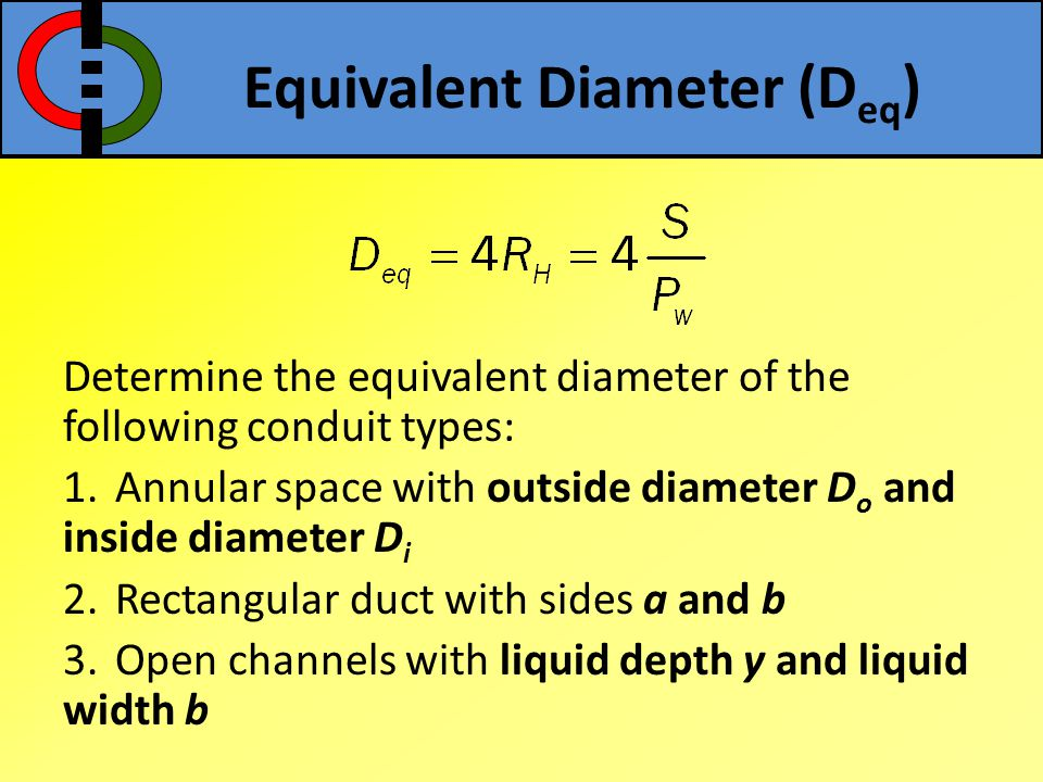 Determine the equivalent diameter of the following conduit types: 1.Annular space with outside diameter D o and inside diameter D i 2.Rectangular duct