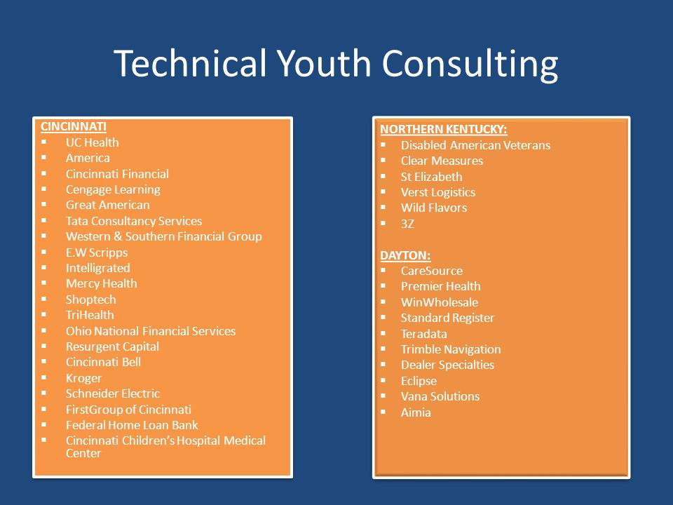 Technical Youth Consulting CINCINNATI  UC Health  America  Cincinnati Financial  Cengage Learning  Great American  Tata Consultancy Services  W