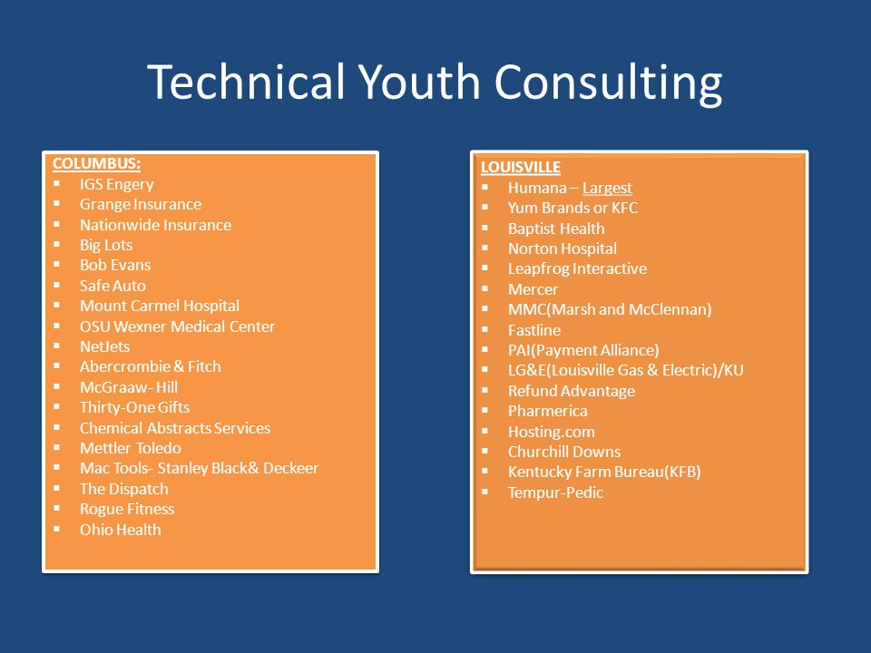 Technical Youth Consulting COLUMBUS:  IGS Engery  Grange Insurance  Nationwide Insurance  Big Lots  Bob Evans  Safe Auto  Mount Carmel Hospital