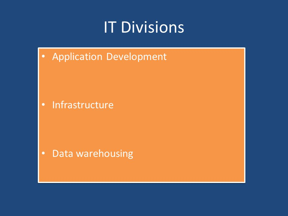 IT Divisions Application Development Infrastructure Data warehousing Application Development Infrastructure Data warehousing