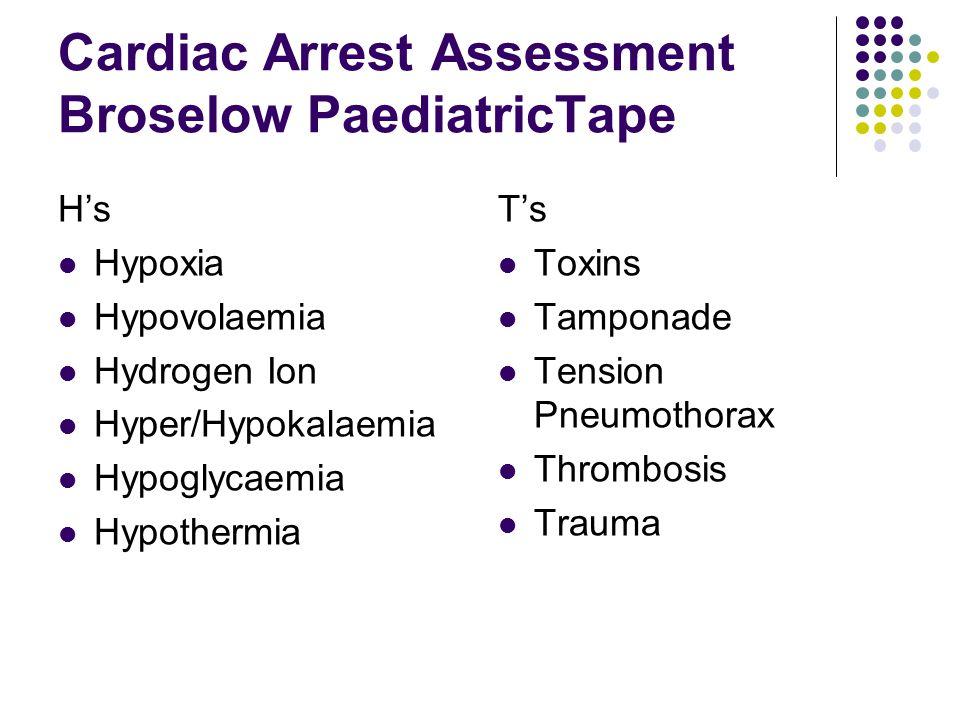 Cardiac Arrest Assessment Broselow PaediatricTape H's Hypoxia Hypovolaemia Hydrogen Ion Hyper/Hypokalaemia Hypoglycaemia Hypothermia T's Toxins Tampon